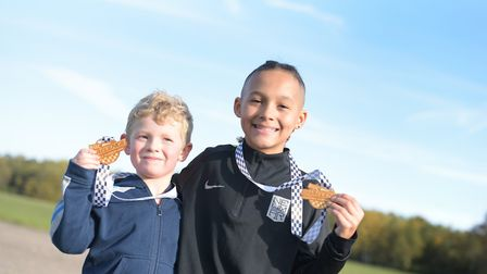 Xander Nixon and Ceasal Nessling with their medals Picture: SARAH LUCY BROWN