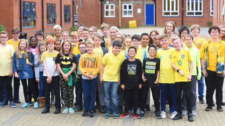 Kesgrave High School pupils pictured in 2017 wearing yellow in support of World Mental Health Day.