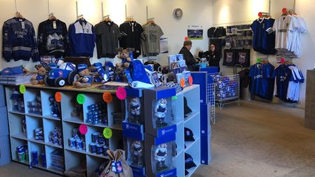 Ipswich town football club have a pop up shop in the town hall Picture: CHARLOTTE BOND