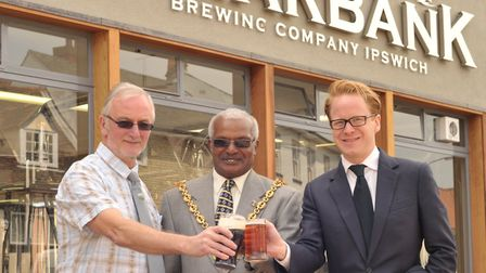 Official opening of the Briarbank Brewery near Isaacs in Ipswich in 2013. . L-R Aidan Coughlan, Ips