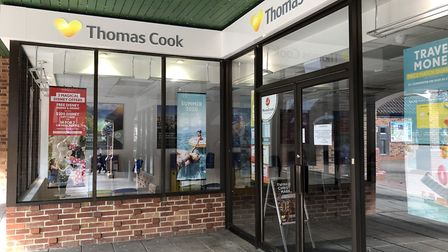 Thomas Cook in Wilkes Way, Stowmarket town centre, which has closed following the collapse of the co