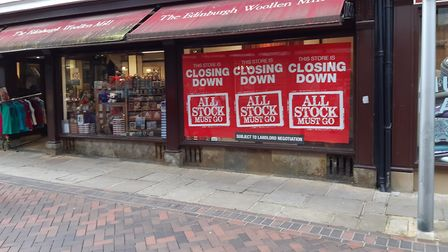 Signs have appeared in the windows of The Edinburgh Woollen Mill, Ipswich, advertising its closure.