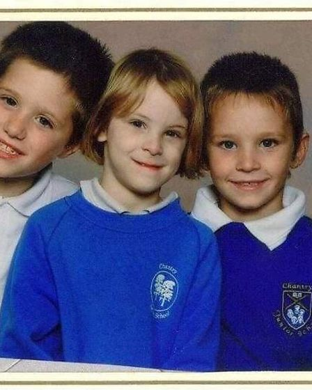 A school picture of Grant Mowles (left) next to his sister Natasha Mayhew (middle) and his brother J