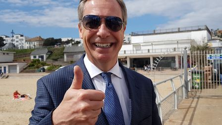 Nigel Farage enjoyed his visit to Clacton in April. Will he be back as candidate in December? Pictu