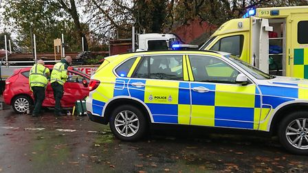 Emergency services at the scene of the crash at Westerfield Picture; LEO HAYMAN