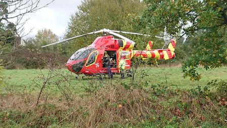 The air ambulance arrives at Westerfield Picture: LEO HAYMAN