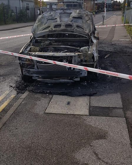 The car caught alight in Ransomes Europark near Havens. Picture: CHRIS BOND