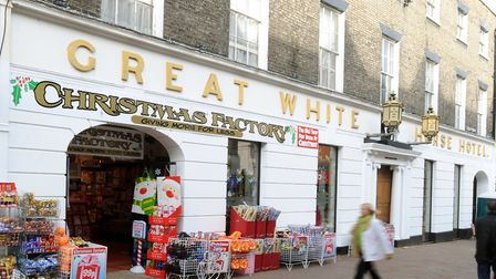 Long after its heyday... The Great White Horse in Ipswich after part became a Christmas shop late