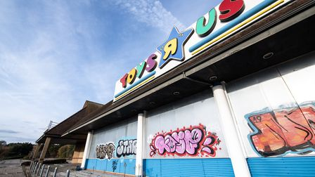 The former Toys R Us store at Copdock, with graffiti on its wall. Picture: SARAH LUCY BROWN