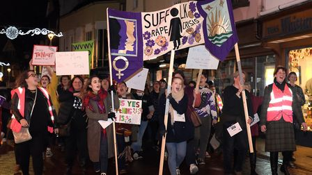 The 2018 Reclaim The Night march saw more than 100 women take to the streets of Ipswich Picture: SA