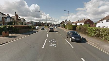 The incident happened on Woodbridge Road which leads out of the town towards Kesgrave. Picture: GOOG