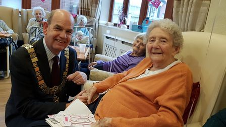 Millie had a visit from the Mayor of Felixstowe, Cllr Nick Barber Picture: RACHEL EDGE