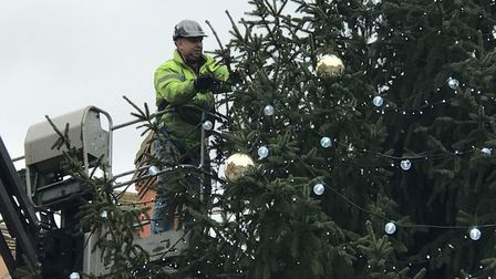 The Cornhill Christmas Tree being decorated ahead of the light switch on this Thursday Picture: VIC