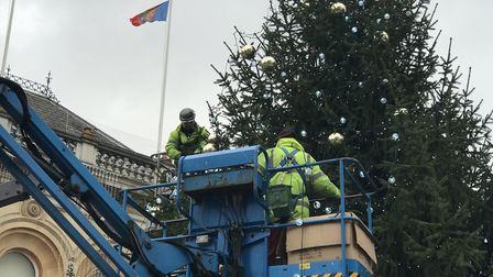 Decorators have to use a cherry picker to reach the top of the 50-foot tree Picture: VICTORIA PERTUS