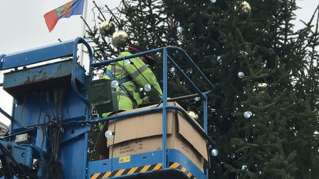 The tree takes pride of place in the town centre on top of the new-look Cornhill Picture: VICTORIA P