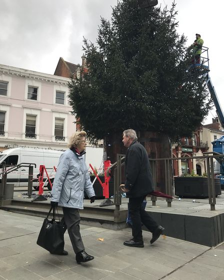 The 50-foot tree towers over shoppers and members of the public on Ipswich Cornhill for the festive