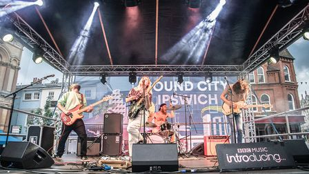 Swimsuit Competition performing on the Cornhill for Sound City Ipswich 2019. Picture: PHILIP CHARLES