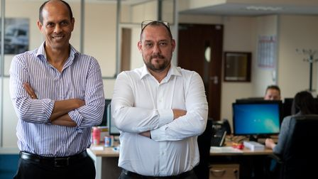 Felixstowe logistics firm Transmode directors and founders Hussein Ahmed, left, and Mark Fielding P