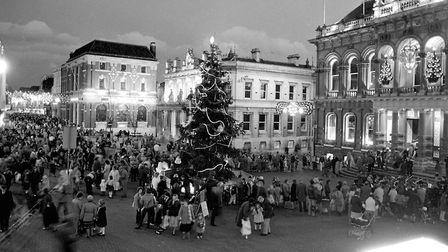 Crowds gather on the Cornhill to watch the Christmas lights switch on Picture: PAUL NIXON