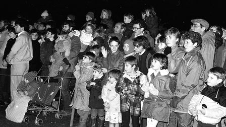 Crowds endure the cold weather to watch the annual fireworks display in Christchurch Park Picture: