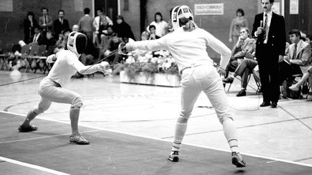 Duelling action as Northgate Sports Centre put on fencing matches Picture: IVAN SMITH