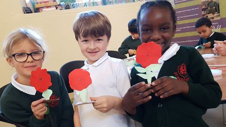The children made poppies as part of the activities Picture: RACHEL EDGE