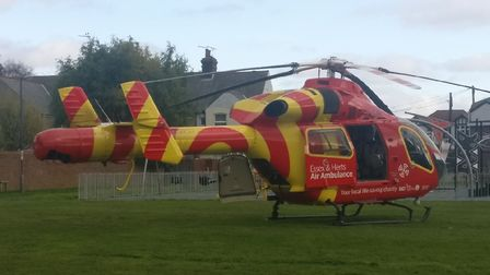 An air ambulance arrives at 10:20Am in Church Road in Felixstowe Picture: PAUL DAY