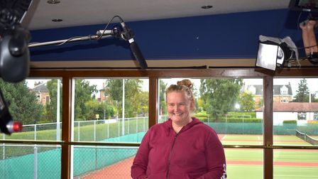 Heather Lockhart, tennis player, being interviewed for the film. Picture: PURPLETV