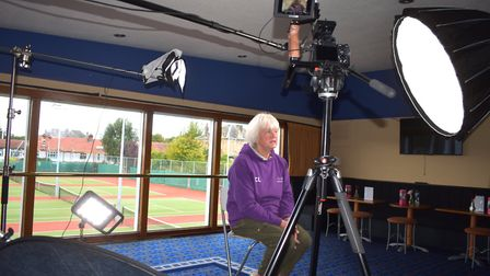 Christine Lockhart, tennis player, being interviewed for the film. Picture: PURPLETV
