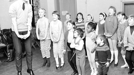 Dennis Lowe training his junior chorus for the Mother Goose pantomime at the Felixstowe Spa Pavilion