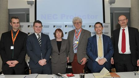 Panel at the Archant Hustings at the University of Suffolk L-R Barry Broom (Green), Tom Hunt (Co