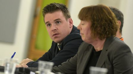 Tom Hunt speaking on the panel at the Archant hustings Picture: SARAH LUCY BROWN