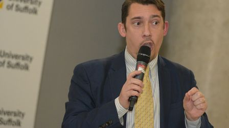Adrian Hyyrylainen-Trett (Lib Dems) speaking on the panel at the Archant hustings Picture: SARAH LU