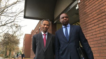 Solicitor Ian Persaud (left) and Francis Investments director Ralph Bernard outside magistrates' cou