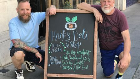 Geoff Bligh and Philip Rivers outside their new Hank's Deli & Shop in Ipswich. Picture: NEIL PERRY