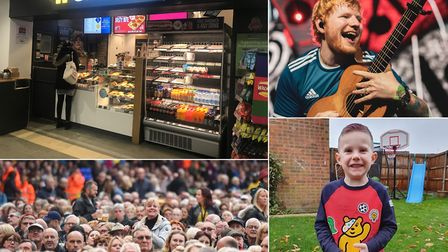 Most Googled terms in Ipswich in 2019. From left to right: Greggs, Ed Sheeran, Rod Stewart concert,