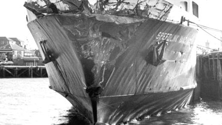 The Speedlink Vanguard at Harwich the morning after the collision with the European Gateway Pictur