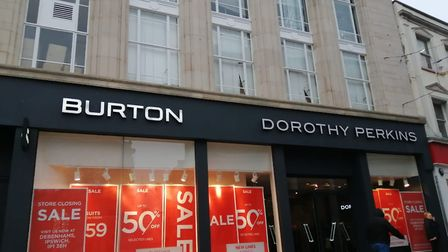 Burton and Dorothy Perkins with displays of their closing down sales Picture: KATY SANDALLS