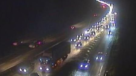 There are long delays on the A14 after two vans crashed near Wherstead. Picture: HIGHWAYS ENGLAND