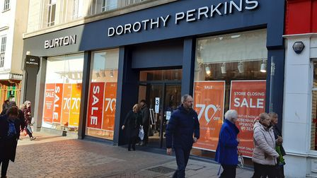 Dorothy Perkins and Burton in Ipswich are in their last few days of trading Picture: JUDY RIMMER