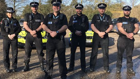 The Operation Sentinel South team. Left to right: Pc Mina Fernandez, Pc John Wood, Sgt Mike Moon, Pc