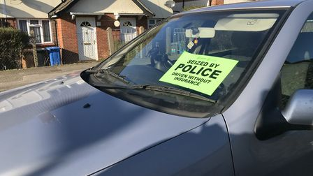 A car seized in Kelly Road, Ipswich, for being driven without insurance Picture: VICTORIA PERTUSA