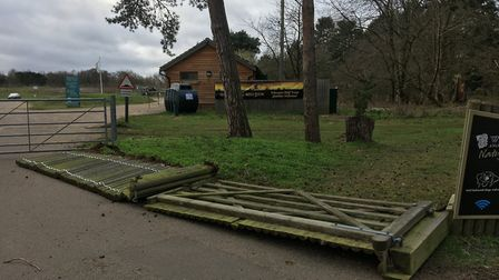 Significant damage from Storm Ciara at West Stow near Bury St Edmunds Picture: WEST SUFFOLK COUNCIL