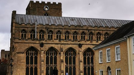 The clock face on St Mary's Church on Angel Hill in Bury St Edmunds sustained damaged in Storm Ciara
