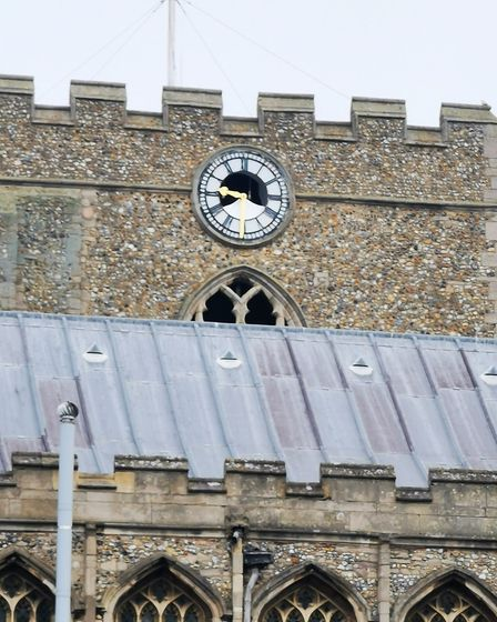 The damage to the clock face on St Mary's Church, Bury St Edmunds, can be clearly seen in this photo