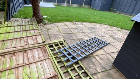 A fence in East Ipswich which was blown down by Storm Ciara earlier today Picture: CONTRIBUTED