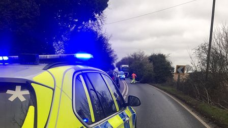 Police from Bury St Edmunds tweeted about a fallen tree near Bury St Edmunds Picture: SUFFOLK CONSTA
