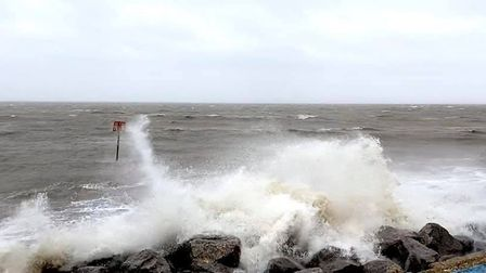 Waves lashing the coast of Aldeburgh during Storm Ciara Picture: NICOLE MCMULLAN