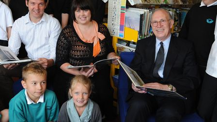 Barry Rackham with son Richard and daughter Jane at the Sidegate Lane Primary School library dedicat