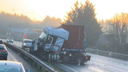 A lorry has been cleared after jack-knifing on the A14. Picture: GO FREIGHT TRANSPORT